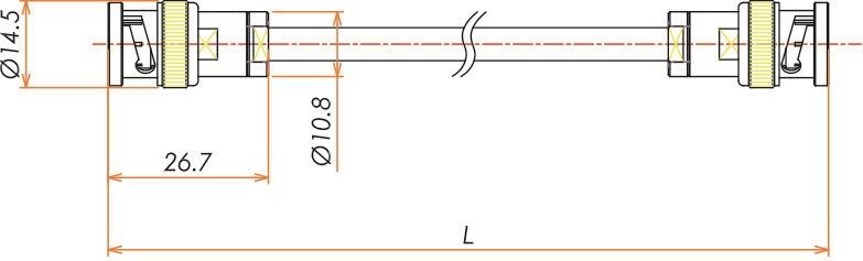 接続部品 大気側 両側プラグ付きケーブル BNC 用 L=1000 寸法画像