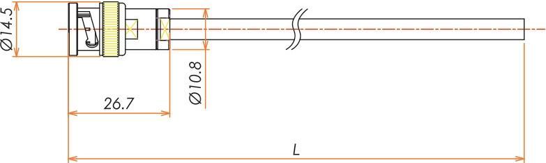 接続部品 大気側 片側プラグ付きケーブル BNC 用 L=1000 寸法画像