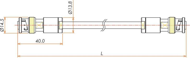 接続部品 大気側 両側プラグ付きケーブル MHV 用 L=1000 寸法画像