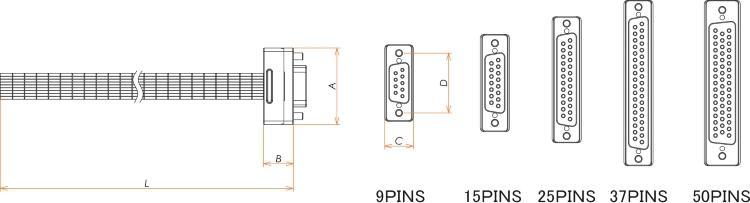 接続部品 真空側 カプトン被覆ケーブル付 D-Sub PEEKインサート 25PIN用 L=1000 寸法画像