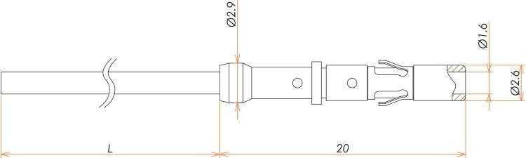 接続部品 真空側 カプトン被覆ケーブル付き ソケットコンタクト L=1000 寸法画像