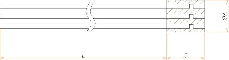 接続部品 真空側 インサート+カプトン被覆ケーブル付 BURNDY® 22PIN L=1000 寸法画像