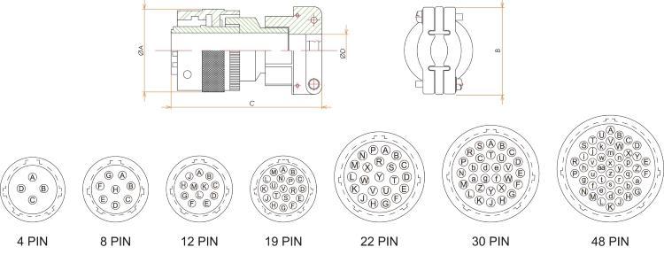 接続部品 大気側プラグ BURNDY 48 PIN 用 寸法画像