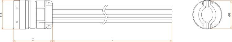 接続部品 大気側 プラグ+ポリエチレン被覆ケーブル付 BURNDY 22PIN L=1000 寸法画像