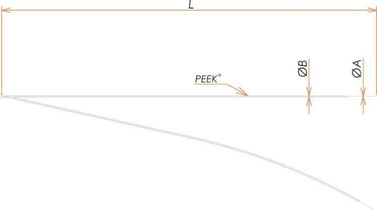 接続部品 真空側 K熱電対 PEEK®被覆 素線 先端溶接 φ0.32 用 L=1000 寸法画像