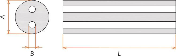 接続部品 熱電対用セラミック絶縁管 2つ穴 φ0.32用 L=100 寸法画像