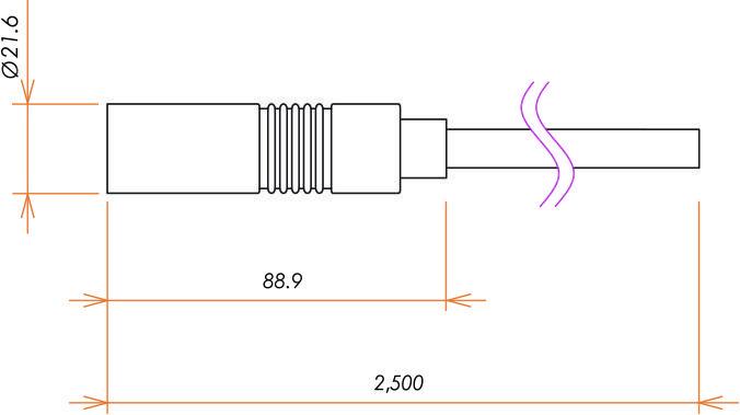 接続部品 大気側 シリコンプラグ付き ケーブル 5kV 用 寸法画像