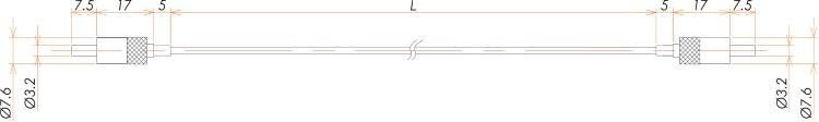 接続部品 真空用両側プラグ付マルチモードファイバー グレードインデックス L=990 寸法画像