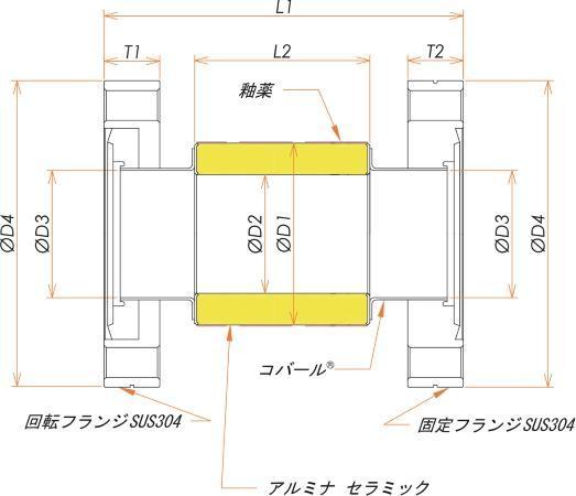絶縁フランジ ICF152 フランジ 12kV ワイド 寸法画像