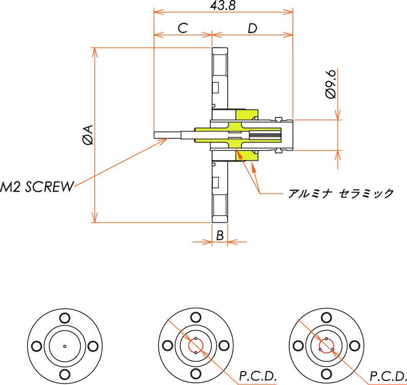 同軸 BNC-R-M2-SCREW 3個付き VG40 フランジ 寸法画像