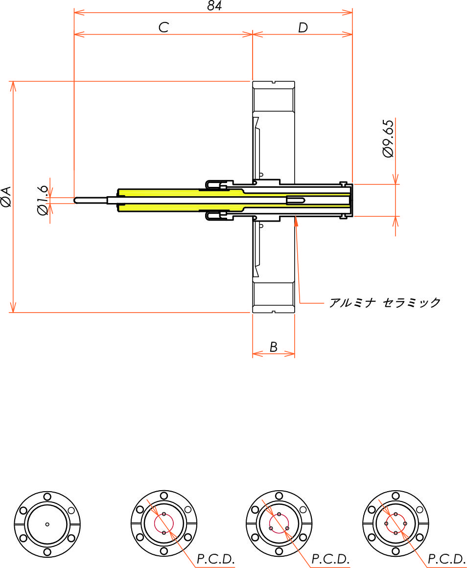 同軸 10kV-SHV-R 1個付き ICF34 フランジ 寸法画像