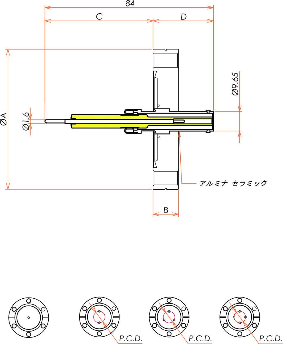 同軸 10kV-SHV-R 4個付き ICF70 フランジ 寸法画像
