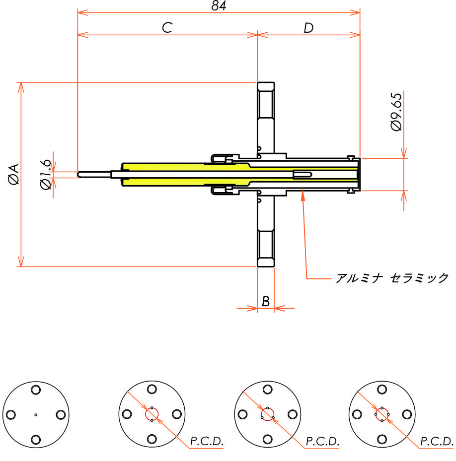 同軸 10kV-SHV-R 2個付き VF40 フランジ 寸法画像