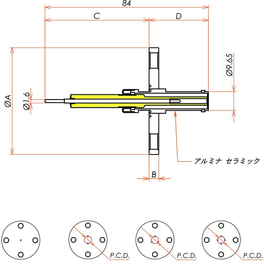 同軸 10kV-SHV-R 3個付き VF40 フランジ 寸法画像