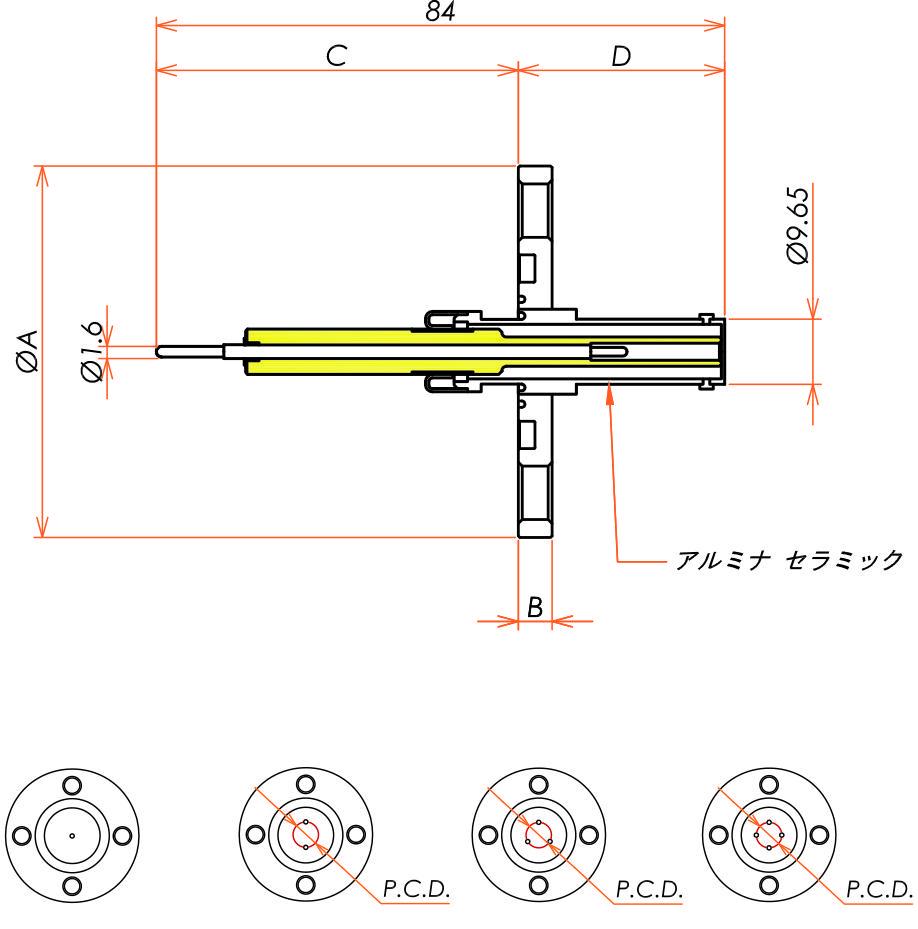 同軸 10kV-SHV-R 1個付き VG20 フランジ 寸法画像