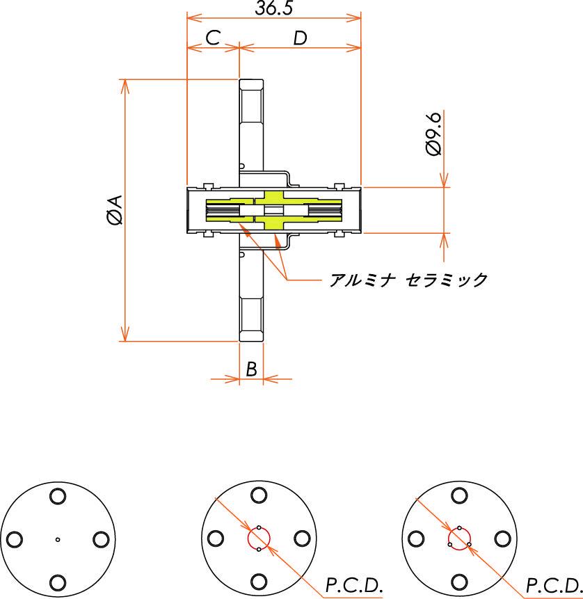 同軸 BNC-JJ 1個付き VF25 フランジ 寸法画像