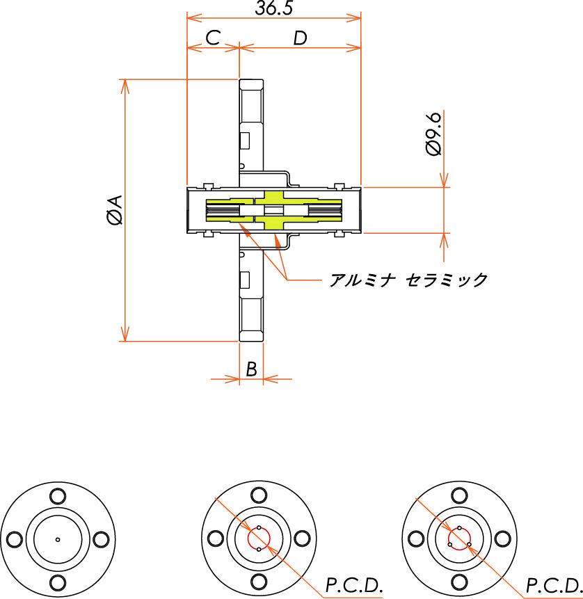 同軸 BNC-JJ 1個付き VG25 フランジ 寸法画像