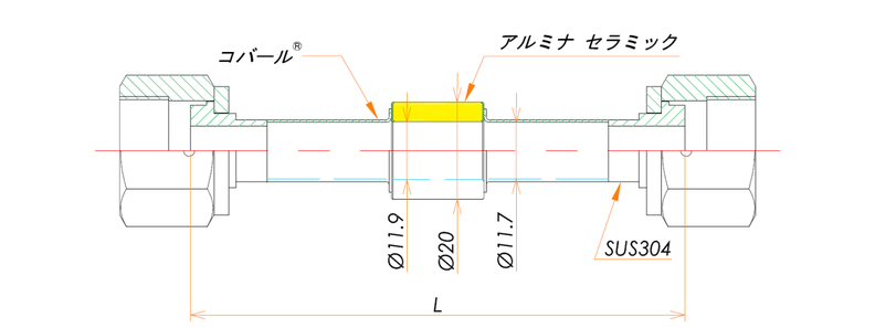 絶縁継手 1/2インチ めすVCR® 10kV 寸法画像