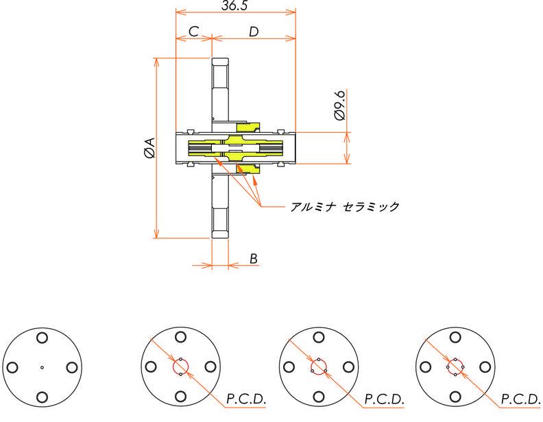 同軸 BNC-JJ-F 4個付き VF40フランジ 寸法画像