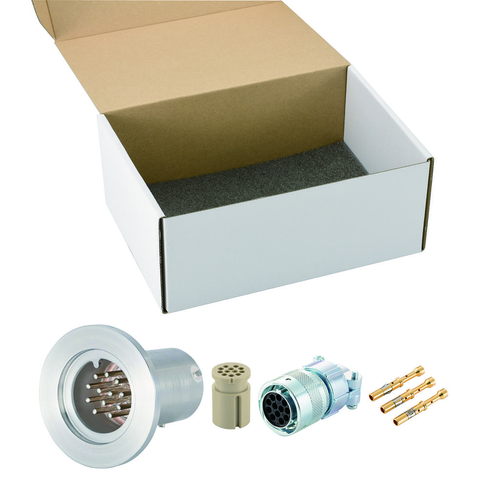 多ピン BURNDY 高電流 12 PIN NW/KF25 フランジ ガイド付き セット(耐熱温度250℃)