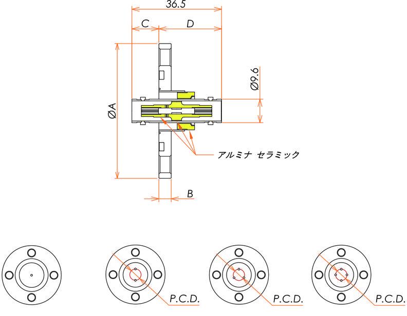 同軸 BNC-JJ-F 4個付き VG40フランジ 寸法画像