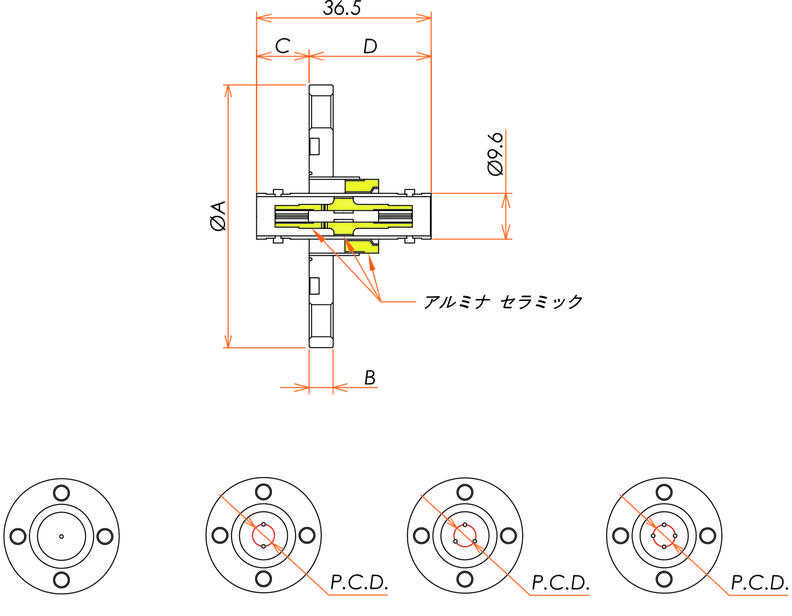 同軸 BNC-JJ-F 2個付き VG40フランジ 寸法画像