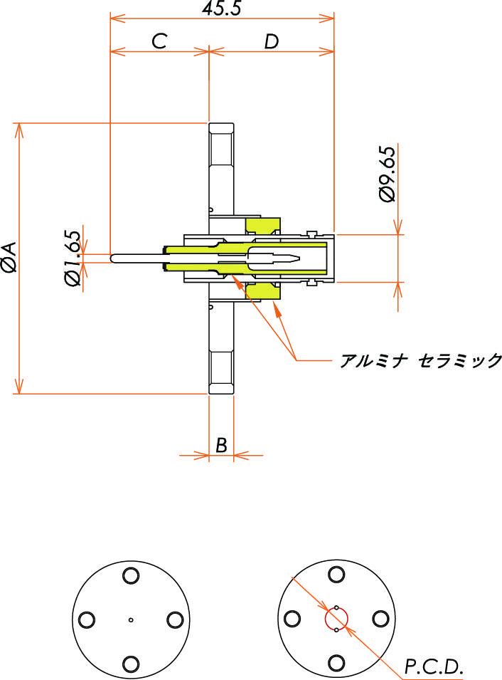 同軸 SHV-R-F 3個付き VF40フランジ 寸法画像