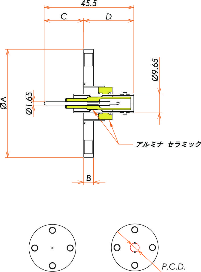 同軸 SHV-R-F 1個付き VF40フランジ 寸法画像