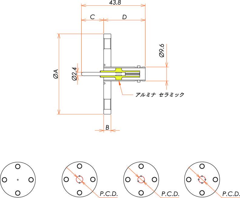 同軸 BNC-R 4個付き VF50 フランジ 寸法画像
