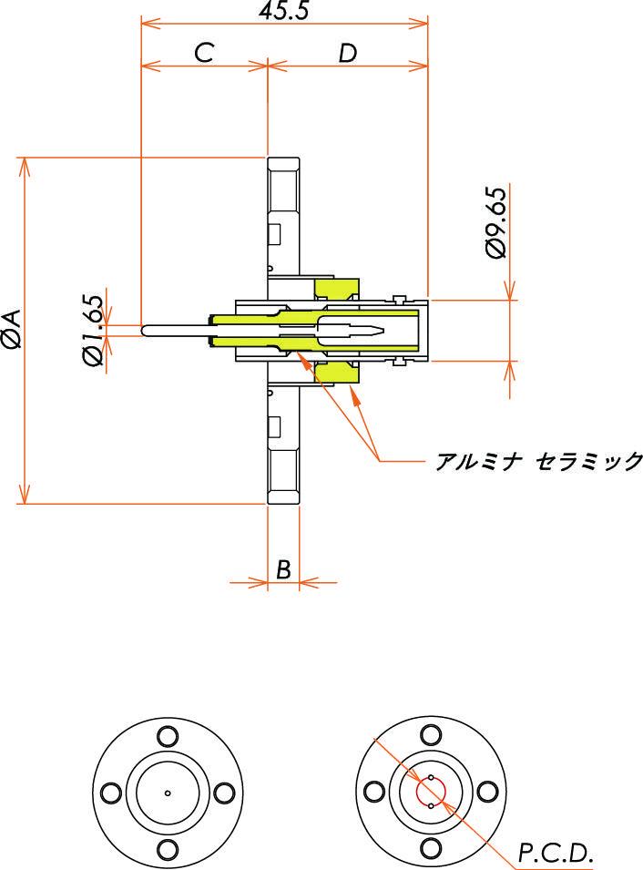 同軸 SHV-R-F 2個付き VG25フランジ 寸法画像
