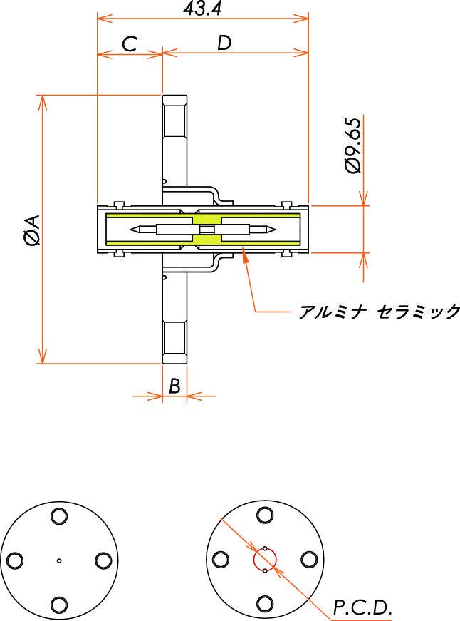 同軸 SHV-JJ 3個付き VF40 フランジ 寸法画像