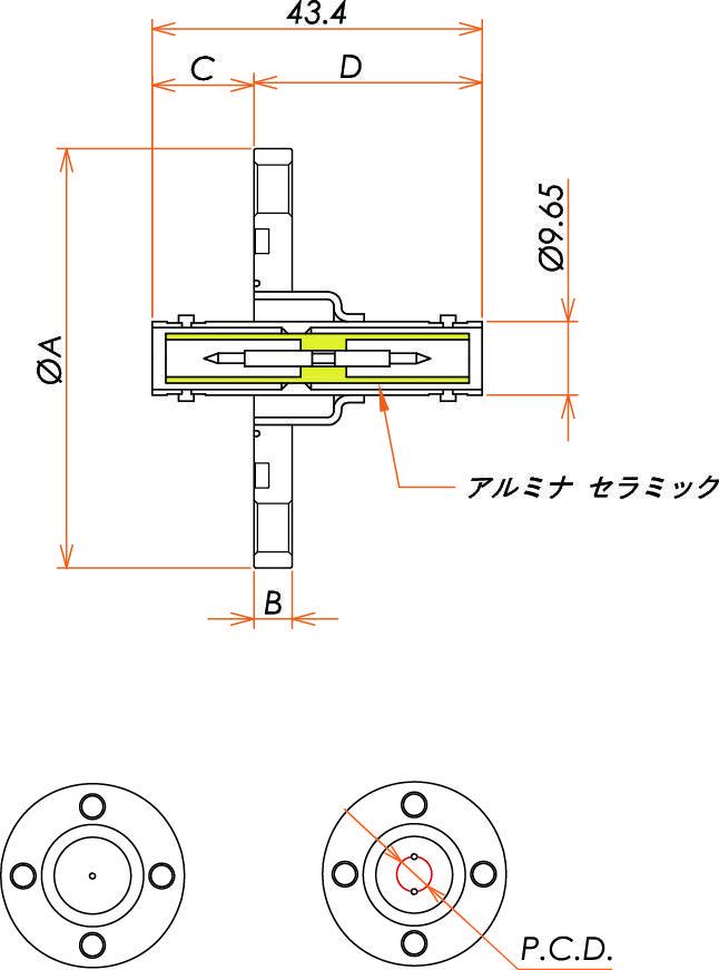 同軸 SHV-JJ 2個付き VG25 フランジ 寸法画像