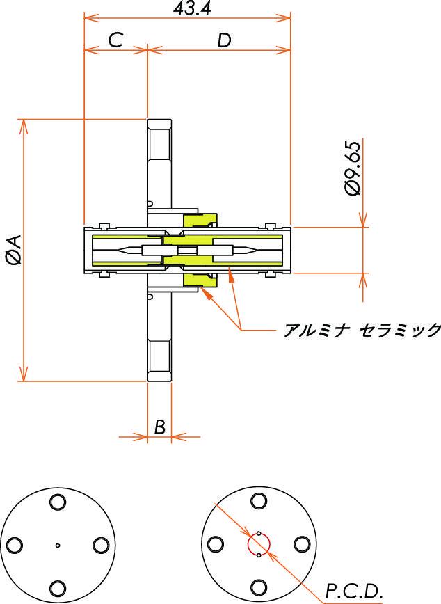 同軸 SHV-JJ-F 3個付き VF40 フランジ 寸法画像