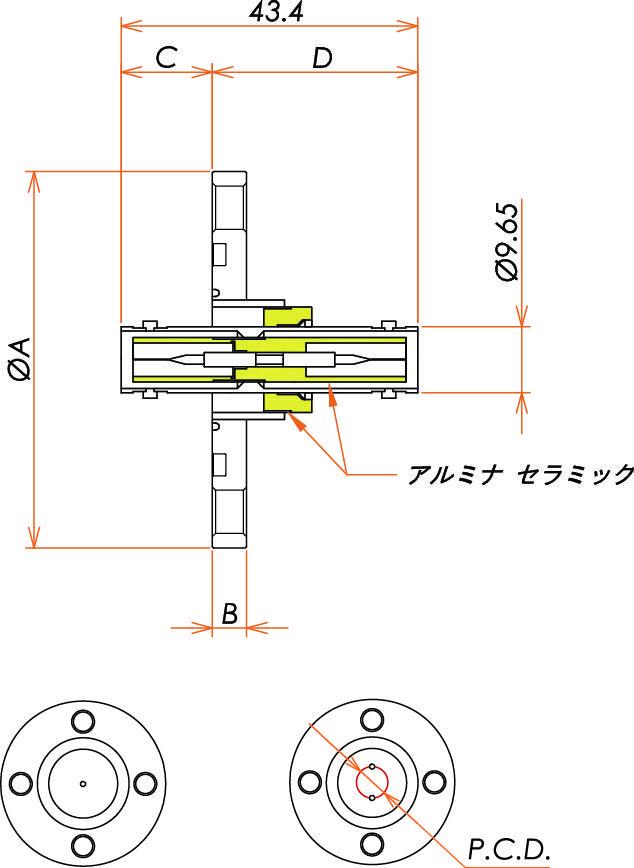 同軸 SHV-JJ-F 2個付き VG25 フランジ 寸法画像