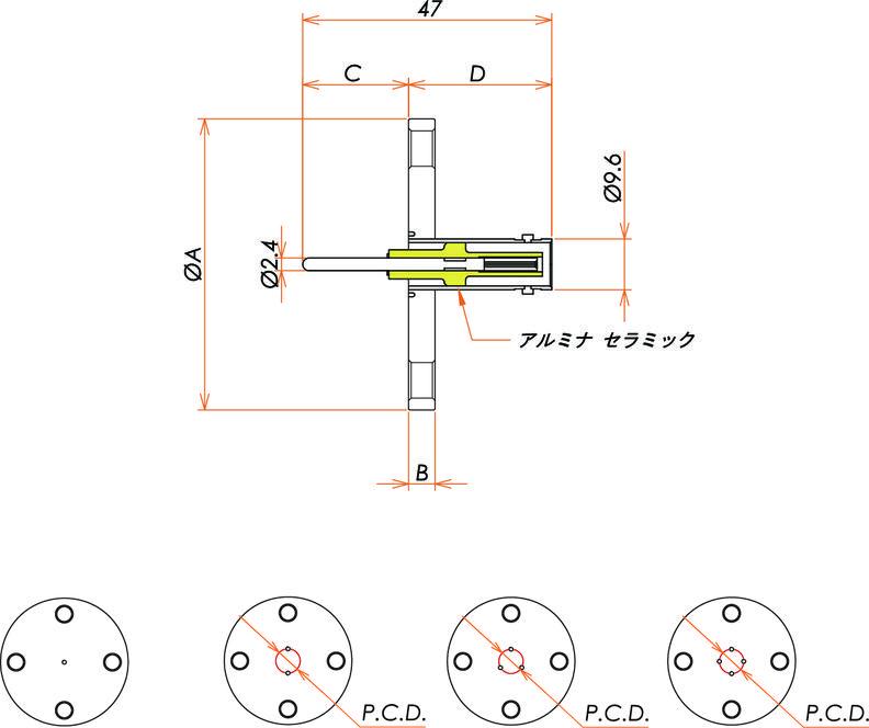 同軸 MHV-R 4個付き VF40 フランジ 寸法画像