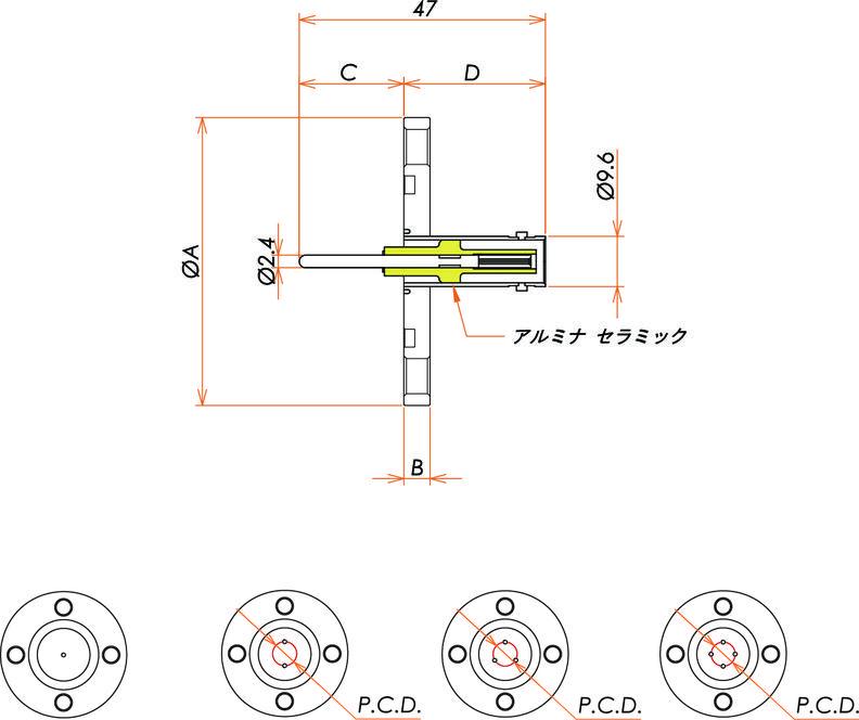 同軸 MHV-R 4個付き VG40 フランジ 寸法画像