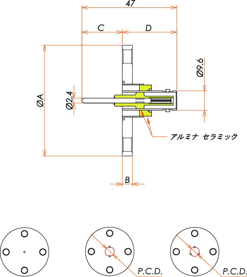 同軸 MHV-R-F 3個付き VF40 フランジ 寸法画像