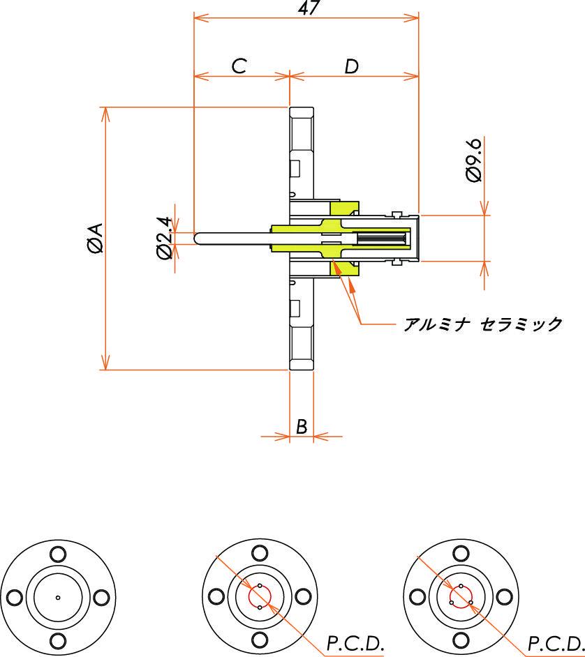 同軸 MHV-R-F 3個付き VG40 フランジ 寸法画像