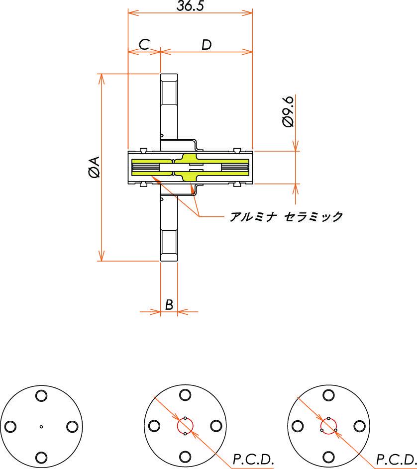 同軸 MHV-JJ 3個付き VF40 フランジ 寸法画像
