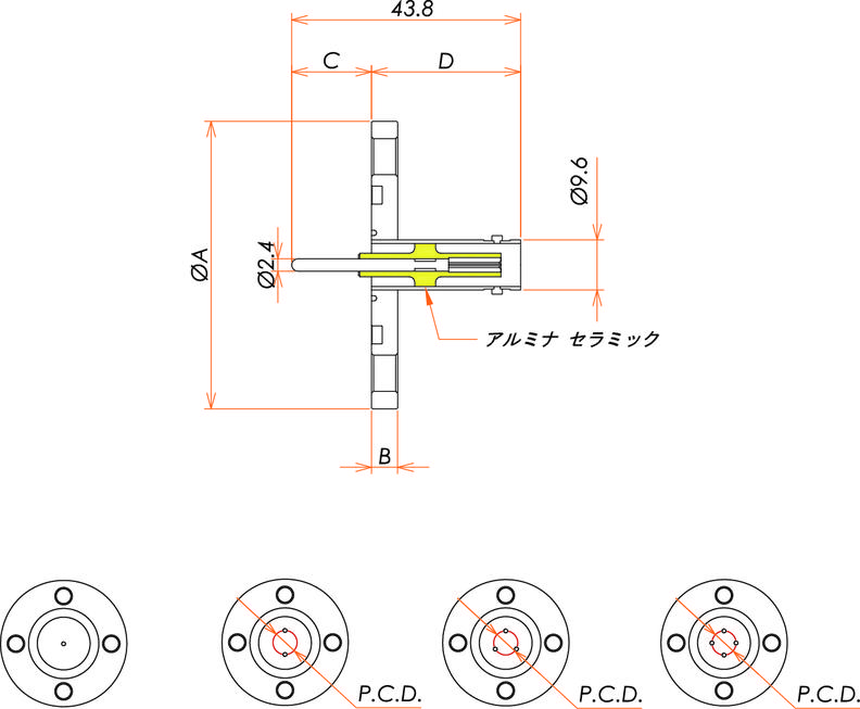 同軸 BNC-R 2個付き VG20 フランジ 寸法画像