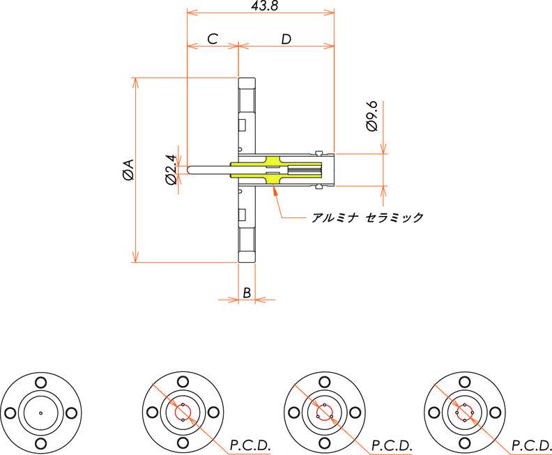同軸 BNC-R 4個付き VG40 フランジ 寸法画像