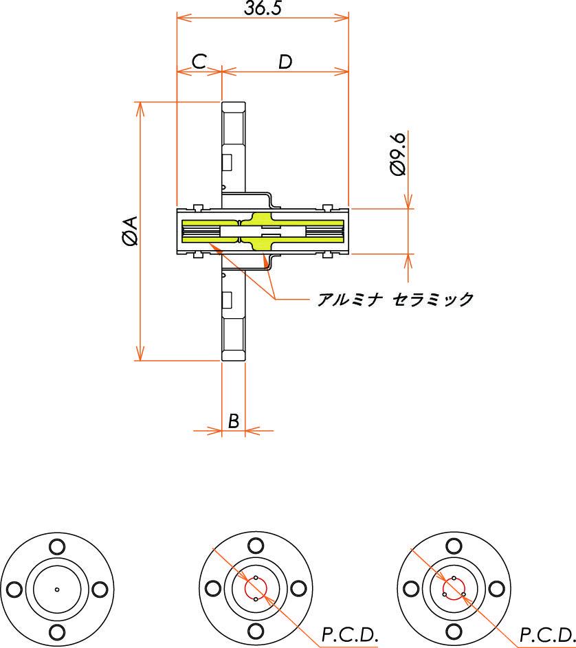 同軸 MHV-JJ 4個付き VG40 フランジ 寸法画像