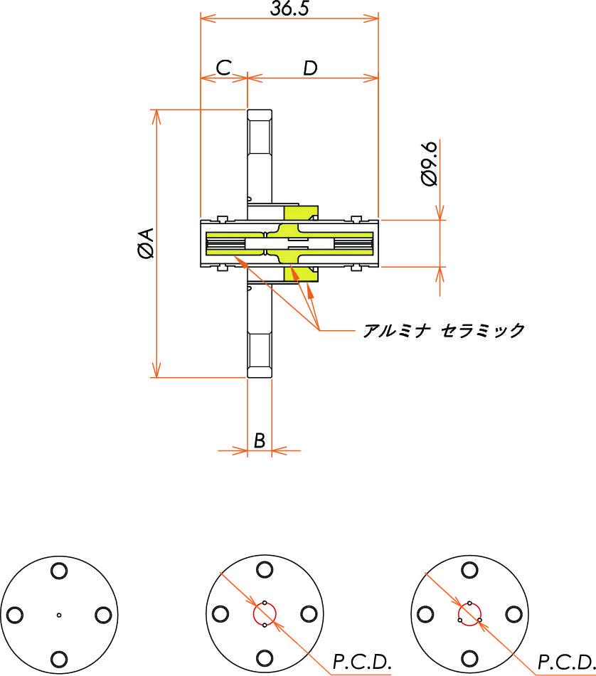 同軸 MHV-JJ-F 2個付き VF40 フランジ 寸法画像
