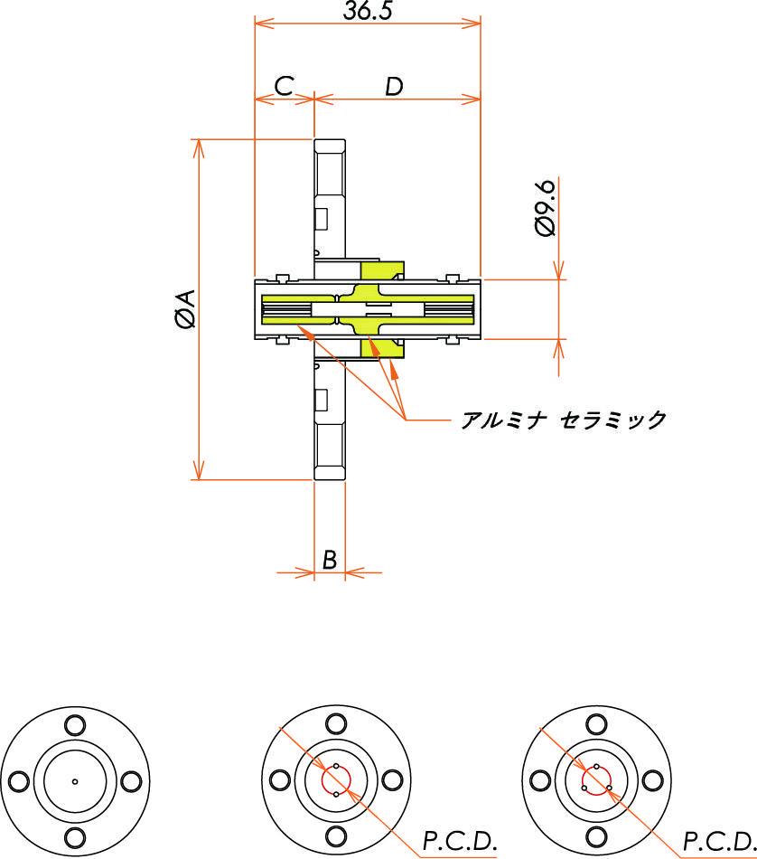 同軸 MHV-JJ-F 3個付き VG40 フランジ 寸法画像