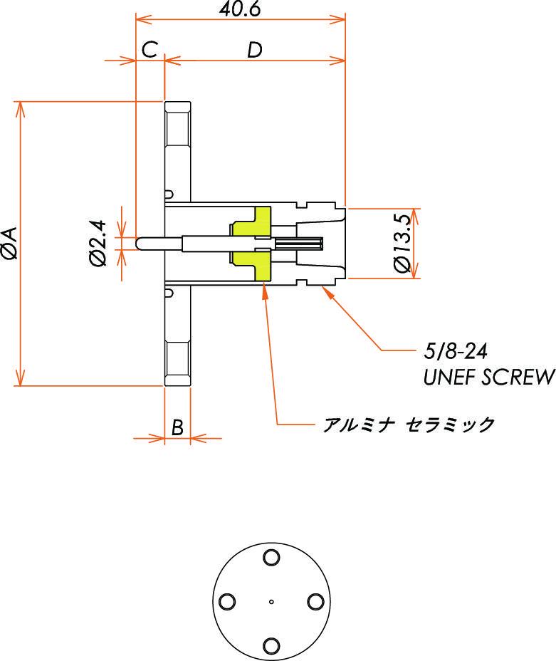 同軸 N-R-F 1個付き VF40 フランジ 寸法画像