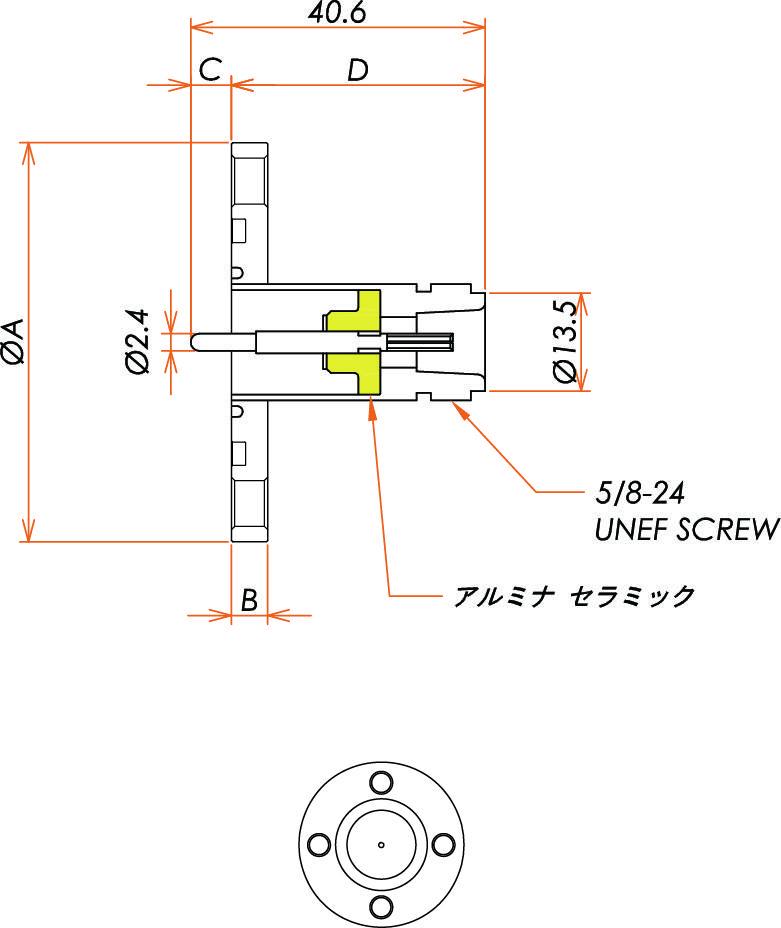 同軸 N-R-F 1個付き VG40 フランジ 寸法画像