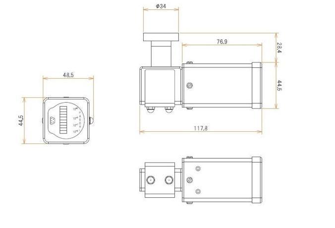 ICF34付 2 L/s MODION® Quadイオンポンプセット 寸法画像
