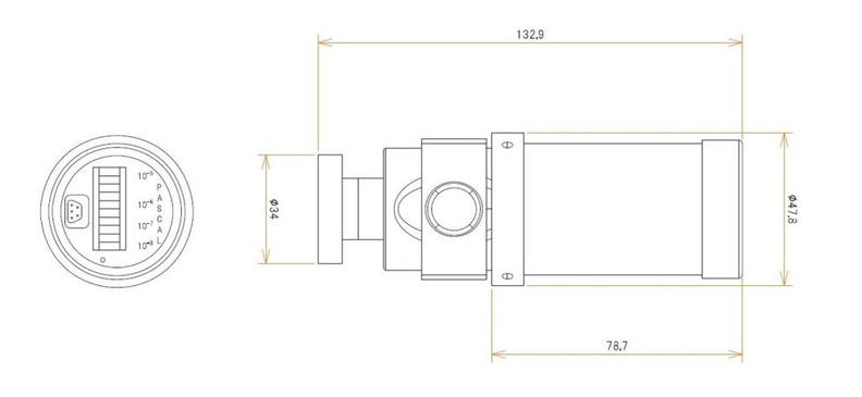 ICF34付 0.5 L/s MODION® イオンポンプセット(長寿命) 寸法画像