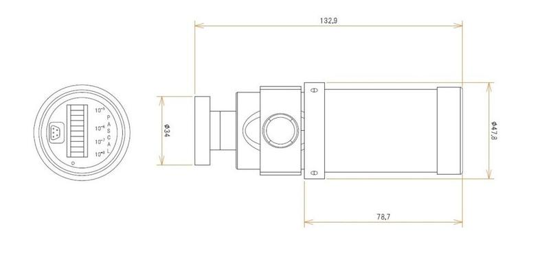 ICF70付 0.5 L/s MODION® イオンポンプセット(長寿命) 寸法画像
