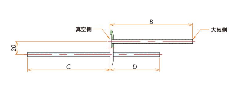 NW50+1/4 バブリング チューブアダプタ 寸法画像